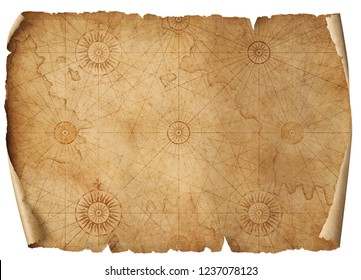 old medieval nautical map isolated 3d illustration