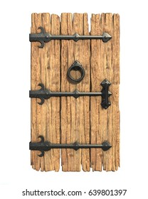 Old medieval wooden door 3d rendering