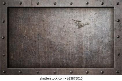 old metal frame background 3d illustration