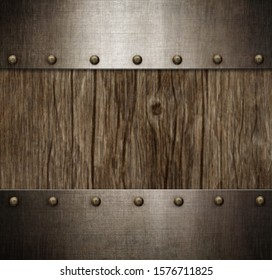 old metal frame with rivets over wood background 3d illustration