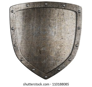 Old metal medieval shield. Crest pattern.