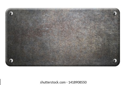 old metal plate with rivets  on white background 3d illustration