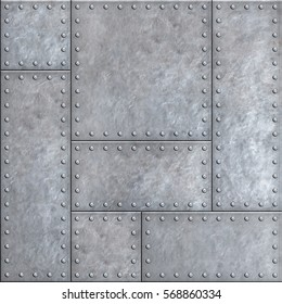 Old metal plates with rivets seamless background or texture