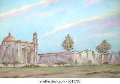 """Old Mexican Hacienda of """"El Raboso"""",  Puebla, Mexico # 97-080; 50x70 cm. - 20"""" x 24"""""""