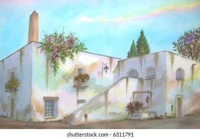 "Old Mexican Hacienda of Temixco, Morelos, Mexico # 97-084; 50x70 cm. - 20"" x 24"""