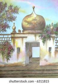 """Old Mexican Hacienda, Xala, Hidalgo, Mexico # 94-055; 28x43 cm. = 11""""x17"""""""
