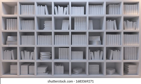 Old and modern books in the personal library with white bookshelf under hot and cold light effect 3D rendering
