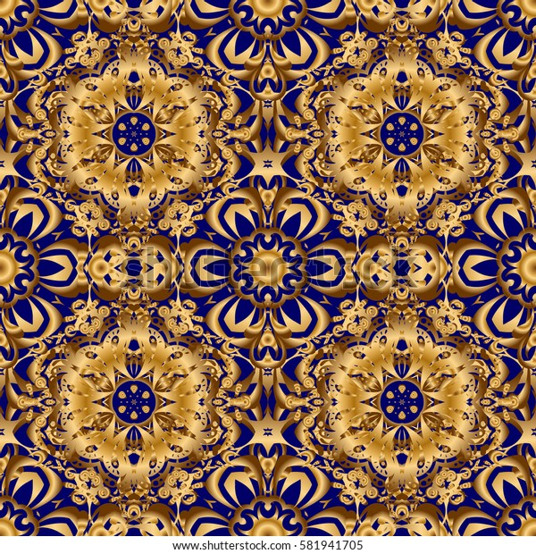 Old moroccan, arabian and turkish ornaments. Seamless golden vintage pattern on blue background.