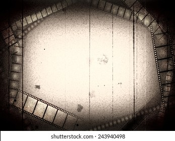Old movie black and white empty frame with films