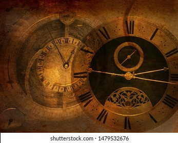 Old mystery background, steampunk vintage clock, dark collage