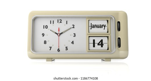 Old new year's day. January 14th, new year day by the Julian calendar on a alarm clock, isolated on white background. 3d illustration