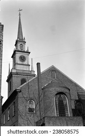 "The Old North Church, officially called Christ Church, Boston, Massachusetts, scene of ""One if by land, and two if by sea"" for Paul Revere's midnight ride. Photo ca.1933"