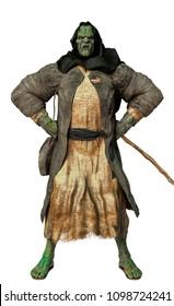 the old ogre prophet in white background 3d illustration