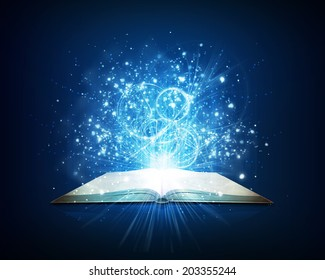 Old open book with magic light and falling stars. Dark background