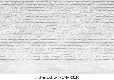 Old painted white brick wall and tile floor. Studio loft room background. 3D illustration