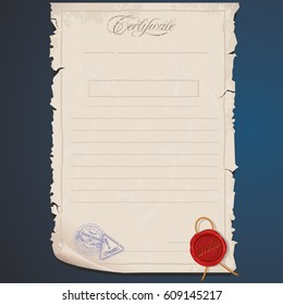 old paper certificate vector template editable stock vector royalty