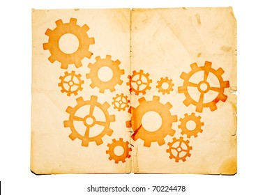 old paper with gears on it