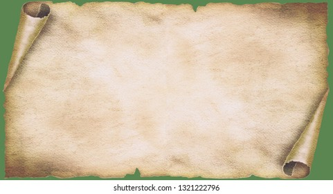 Old paper, papyrus scroll with rolled corners as background