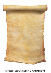 Old paper scroll or parchment isolated on a white background. Clipping path included. 3d illustration