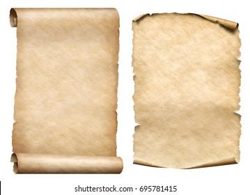 old paper scrolls 3d illustration set