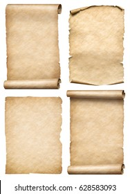 Old paper scrolls and parchments set realistc 3d illustration