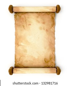 Old paper sheet. Unfurled an ancient scroll. Conceptual illustration. Isolated on white background. 3d render