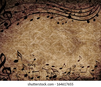 old paper texture with some music notes on it