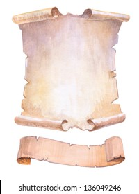 old papyrus and ribbons watercolor