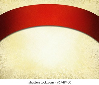 old parchment background illustration in white and beige with elegant red curved ribbon arch at the top with copy space to add your own text or title, and faint grunge texture around border
