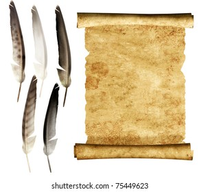 Old parchment and collection of feathers. Isolated over white