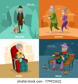 Old people cartoon concept with different activities and recreation at mature age  illustration