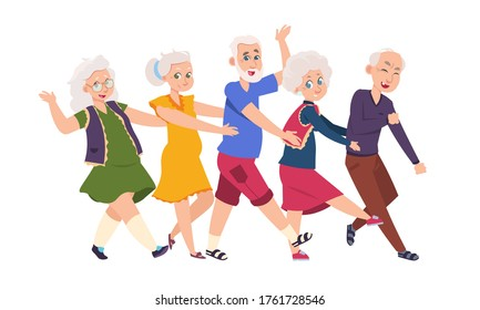 Old people dancing. Diverse elderly cartoon characters dancing a conga line, happy funny persons.  illustration active grandparents isolated set on white background