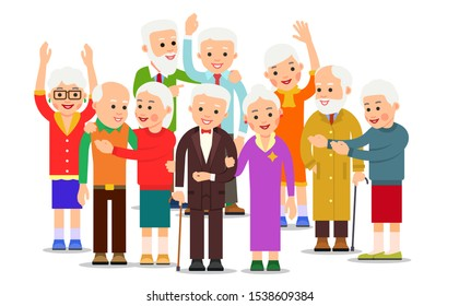 Old people group. Crowd older men and women. Cheerful senior people outdoors. Happy couple travel together. Smiling aged caucasian pensioners. Illustration isolated on white background in flat style.