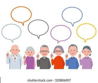 Old people talking with speech balloon