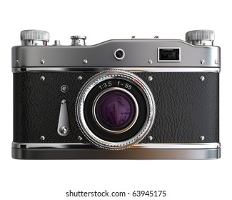 Old photo camera on white background