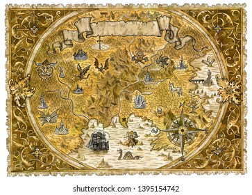 Old pirate map of fantasy world with dragons. Hand drawn graphic illustration of world atlas with vignette banner and victorian frame, old transportation vintage background