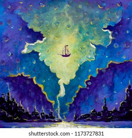 Old pirate ship, Peter Pan in space over black night city painting, another world cosmic planet drawing