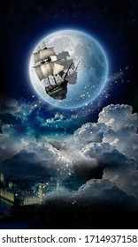 Old pirate ship, in space over black night city