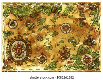 Old pirate treasures map with baroque banner and ancient vessels. Decorative antique background with nautical chart, adventure treasures hunt concept, watercolor hand drawn illustration