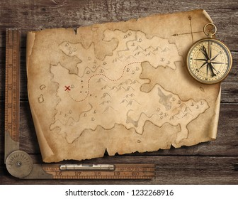 Old pirates' map with brass compass. Adventure and travel concept. 3d illustration.