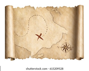 old pirates treasure scroll map isolated 3d illustration
