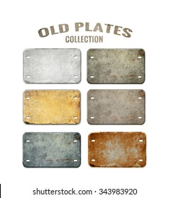 Old plates isolated on white. Retro
