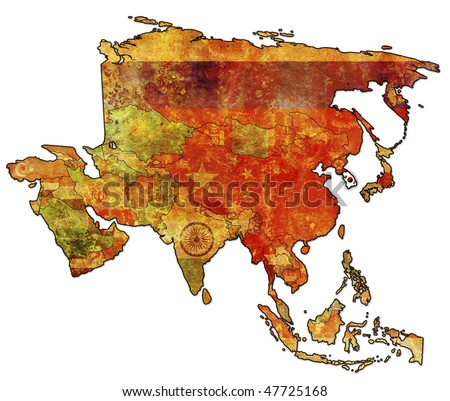 Old Political Map Asia Flag South Stock Illustration 47725168 ...