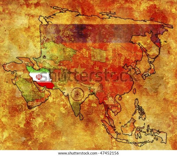Old Political Map Asia Flag Iran Stockillustration 47452156