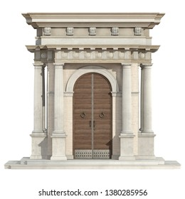 Old portal in neoclassical style with wooden front door and doric column isolated on white - 3d rendering
