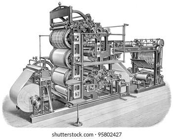 Old printing press / vintage illustration from Meyers Konversations-Lexikon 1897