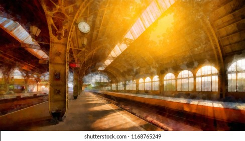 An old railway with a clock and a bright sun shining through the windows. Watercolor Painting Digital Painting