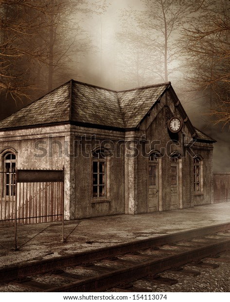 Old railway station in a forest