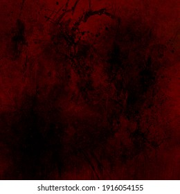 Old red background with black grunge texture, textured red splashed paint wall in distressed vintage background