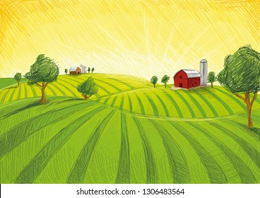 Old red barn on green landscape, drawing naive in fine lines. Agriculture with sundowner.